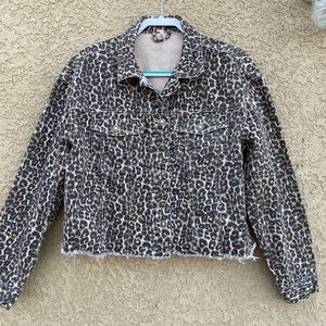Free People Leopard Print Denim Cropped Jacket M